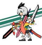 alternate_weapon chankodining_waka dual_wielding green_eyes hair_ribbon hairband highres konpaku_youmu puffy_sleeves ribbon short_hair short_sleeves silver_hair solo sword touhou turning weapon