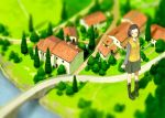 blurry blush boots brown_hair building cardigan_vest giant giantess grass grey_eyes hairclip high_res highres hoodie looking_at_viewer original path scenery shadow short_hair skirt solo spanish_tile_roof standing sweater_vest tree yoshida_seiji