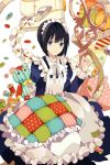 black_hair bow frills holding lowres maid maid_headdress mauve needle pillow pin polka_dot purple_eyes quilt ribbon ruler scissors sewing sewing_machine short_hair sitting smile solid_circle_eyes spool striped stuffed_animal stuffed_toy sword_girls teddy_bear violet_eyes