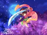 brown_eyes brown_hair full_moon japanese_clothes kaga katana kimono moon obi oboro_muramasa solo sword thigh-highs thighhighs watermark weapon web_address