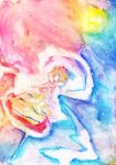 bad_id blonde_hair hagoromo highres rough shawl short_hair solo toramaru_shou touhou traditional_media watercolor_(medium) yashijin