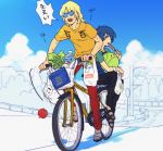 apple basket bicycle blonde_hair blue_eyes blue_hair bottle cloud clouds ebira food fruit groceries gundam haro ice_cream kamille_bidan multiple_boys open_mouth popsicle quattro_bajeena sandals short_hair sketch sunglasses sweat t-shirt teeth translation_request water_bottle watermelon_bar zeta_gundam