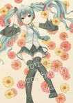 aqua_eyes aqua_hair flower hatsune_miku long_hair looking_at_viewer lying mizutamako smile solo thigh-highs thighhighs twintails very_long_hair vocaloid zettai_ryouiki