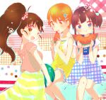 :d :o :t aguri_(aguri0406-aoi) black_hair blue_eyes brown_eyes brown_hair casual dress food fruit inami_mahiru long_hair multiple_girls open_mouth orange_eyes orange_hair ponytail short_hair side_ponytail smile taneshima_popura watermelon working!! yamada_aoi