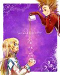 1girl blonde_hair blue_eyes brown_eyes brown_hair coffee colette_brunel cup english engrish lloyd_irving long_hair mug nakariku pouring ranguage smile star tales_of_(series) tales_of_symphonia