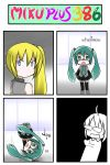 4koma akita_neru black_legwear blonde_hair blue_eyes catstudio_(artist) comic detached_sleeves empty_eyes green_eyes green_hair hair_ornament hatsune_miku headless heart highres long_hair multiple_girls necktie open_mouth shirt side_ponytail skirt smile thai thigh-highs thighhighs translated translation_request twintails vocaloid zettai_ryouiki
