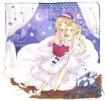2girls amoretta_virgine blonde_hair blue_eyes book couple crescent_moon curtains flower grimgrimoire hug hug_from_behind lillet_blan long_hair moon multiple_girls night_clothes pink_eyes ponytail sitting slippers smile souka_(souspirit) star yuri