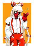 bow cosplay crossdressing deadpool fujiwara_no_mokou fujiwara_no_mokou_(cosplay) ganguri hair_bow hand_in_pocket long_hair marvel overalls pants solo touhou very_long_hair white_hair
