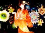 black_hair fireworks flower hair_bun hair_flower hair_ornament japanese_clothes kimono original plastic_bag red_eyes water yubari