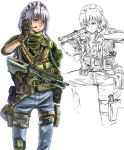 alternate_costume blue_eyes braid contemporary cross gloves gun headset holster izayoi_sakuya jeans jewelry knee_pads lleu load_bearing_vest maid_headdress necklace operator pistol pouches rifle short_hair silver_hair sketch solo thigh_strap touhou twin_braids weapon