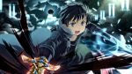 blue_eyes kirigaya_kazuto sky sword sword_art_online weapon