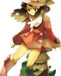 1girl bangs beanie black_hair boots dress hair_ornament hana_(mew) hat hiding hikari_(pokemon) hikari_(pokemon)_(remake) holding long_hair pokemon pokemon_(creature) pokemon_(game) pokemon_dppt scarf snover winter_clothes