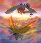 alternate_color bird cloud clouds creature dark flying ho-oh kikken lugia no_humans pokemon pokemon_(creature) shiny_pokemon sky sunset