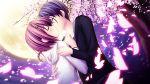 akizuki_tsukasa blue_hair braids cherry_blossoms game_cg haruno_tsubame jpeg_artifacts kiss moon night pink_hair sakura_sakimashita short_hair sky sorahane