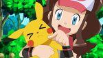 >_< 1girl baseball_cap blue_eyes brown_hair closed_eyes hat noyeshr pikachu pokemon pokemon_(anime) pokemon_(creature) pokemon_(game) pokemon_bw sweatdrop touko_(pokemon)