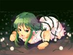 green_eyes green_hair gumi lying matsuzou on_stomach open_mouth short_hair solo vocaloid yuuji_(yukimimi)