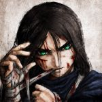 alice:_madness_returns alice_(wonderland) alice_in_wonderland american_mcgee's_alice american_mcgee's_alice bandage bandages black_hair bleeding blood blood_on_face ceramic_man cuts dress green_eyes highres injury long_hair mouth_hold solo