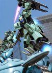 beam_rifle building city energy_sword gun gundam gundam_unicorn kapool mecha nemo_(mobile_suit) realistic robographer science_fiction shield sword weapon