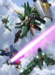 beam_rifle energy_sword gun gundam gundam_zz mecha robographer shield sword weapon zeta_gundam_(mobile_suit) zz_gundam