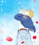 blonde_hair blue_jacket bomber_jacket jacket jeans keith_goodman mamemo_(daifuku_mame) perspective petals sky solo tiger_&_bunny