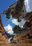 canyon cloud flying gundam gundam_00 mecha realistic robographer science_fiction