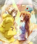 amamiya_kabosu black_hair blush brown_hair double_bun eye_contact fur_coat hand_holding headphones height_difference holding_hands kamitsure_(pokemon) long_hair looking_at_another mei_(pokemon) misdreavus multiple_girls no_headwear pokemon pokemon_(game) pokemon_bw2 raglan_sleeves smile sparkle twintails very_long_hair