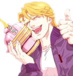 blonde_hair blue_jacket bomber_jacket helmet jacket keith_goodman mamemo_(daifuku_mame) sky_high solo thumbs_up tiger_&_bunny