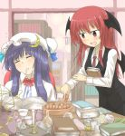 bat_wings beaker book bow candle closed_eyes cookie crescent cup dress_shirt eyes_closed food hat head_wings highres koakuma long_hair multiple_girls necktie nobamo_pieruda open_mouth paper patchouli_knowledge purple_hair red_eyes red_hair redhead saucer scissors shirt skirt sleeping smile teacup touhou wings