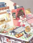 :q ahoge animal_hair_ornament apron book bowl bread brown_eyes brown_hair cereal checkered cooking cup drawer egg flour flower food hair_ornament holding icing jug kitchen mintchoco original panda_hair_ornament pastry_bag plant ponytail potted_plant refrigerator rolling_pin side_ponytail sink solo tongue whisk window