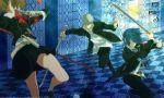 2boys 2girls arisato_minato armband belt blue_eyes blue_hair book brown_hair digital_media_player dress_shirt evoker female_protagonist_(persona_3) glasses grey_hair hair_over_one_eye headphones headphones_around_neck katana multiple_girls naginata narukami_yuu persona persona_3 persona_3_portable persona_4 polearm red_eyes school_uniform shirt siroco skirt sword tarot weapon