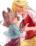 animal_ears blonde_hair brown_hair capelet chin_grab eye_contact grey_eyes grey_hair hand_on_chin hand_to_chin kotaro-nosuke looking_at_another mouse_ears mouse_tail multicolored_hair multiple_girls nazrin red_eyes rough shirt short_hair skirt skirt_set tail toramaru_shou touhou two-tone_hair wrist_ribbon yellow_eyes yuri