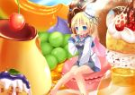 1girl apron blonde_hair blue_eyes blush collar copyright_request dessert food fruit grapes hat irie_sekine pastry paw_print school_uniform serafuku short_hair sitting skirt solo spoon strawberry