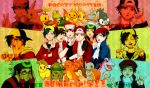 6boys baseball_cap beret brown_hair bulbasaur charmander chikorita chimchar cyndaquil dual_persona english fingerless_gloves glasses gloves gold_(pokemon) green_eyes hat highres hug jacket kouki_(pokemon) mudkip multiple_boys open_mouth pikachu piplup pokemon pokemon_(game) pokemon_dppt pokemon_frlg pokemon_gsc pokemon_hgss pokemon_rgby red_(pokemon) red_(pokemon)_(classic) red_(pokemon)_(remake) red_eyes smile squirtle title_drop torchic totodile treecko turtwig v white_hair yellow_eyes yorozuame yuuki_(pokemon)