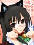 2012 :p animal_ears apron bell bell_collar black_eyes black_hair cat_ears collar copyright_request dated english glasses highres kemonomimi loli-pig maid megane nekomimi paw_pose paw_print signature tongue