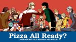 6+boys animal antonio_lopez barnaby_brooks_jr dog drink eating everyone food highres hoshino_lily huang_baoling ivan_karelin john_(tiger_&_bunny) kaburagi_kaede kaburagi_t_kotetsu karina_lyle keith_goodman multiple_boys multiple_girls nathan_seymour pizza pizza_box red_background simple_background sitting tiger_&_bunny yuri_petrov