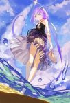 aoki_lapis arms_behind_back bare_shoulders barefoot blue_eyes cloud clouds dress dutch_angle from_below hair_ornament highres holding holding_arm holding_shoes legs lia-sama liftoff long_hair looking_at_viewer open_mouth partially_underwater_shot print_dress purple_eyes purple_hair shoes shoes_removed sky smile solo tourmaline twintails very_long_hair violet_eyes vocaloid wading water water_droplets wet_lens