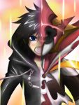 alternate_form artist_request black_hair blue_eyes hoodie kingdom_hearts kingdom_hearts_358/2_days looking_at_viewer open_mouth organization_xiii short_hair solo spoilers xion_(kingdom_hearts)