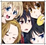 :> :d akiyama_mio black_hair blonde_hair blue_eyes blush border brown_hair closed_eyes eyes_closed fang food fruit hairband hirasawa_yui holding k-on! kotobuki_tsumugi lemon multiple_girls nakano_azusa open_mouth pink_eyes ringo78 smile sweatdrop tainaka_ritsu yellow_eyes