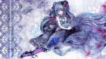 animal bare_shoulders blue_hair bow colored_eyelashes dress fish hair_ribbon hat hat_bow hatsune_miku long_hair mini_top_hat miri oversized_animal pantyhose purple_eyes ribbon solo top_hat traditional_media very_long_hair violet_eyes vocaloid wallpaper watercolor_(medium)