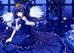 angel crown dress drink flower flowers nishimata_aoi rose wings