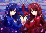 2girls blue_hair brown_eyes flower flowers goth-loli gothic_lolita headdress lolita_fashion long_hair nishimata_aoi petals red_eyes red_hair redhead rose scan