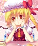ascot blonde_hair blush cup flandre_scarlet food fork hat hat_ribbon heart highres koromia leaning looking_at_viewer plate red_eyes ribbon side_ponytail solo teacup touhou wings