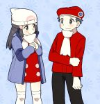 1girl alternate_costume beanie beret black_hair blush couple dress hat hikari_(pokemon) hikari_(pokemon)_(remake) kouki_(pokemon) kouki_(pokemon)_(cosplay) kouki_(pokemon)_(remake) long_hair pokemon pokemon_(game) pokemon_dppt pumpkinpan scarf shy smile thigh-highs thighhighs winter_clothes