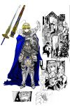 armor blonde_hair blue_eyes blush caliburn cape comic fate/stay_night fate_(series) helmet highres knight mirror monochrome saber servant sheath sword todee weapon