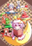 >_< =_= ascot bat_wings blue_eyes blue_hair book braid checkered checkered_background chibi cirno closed_eyes crescent cup daiyousei dress_shirt ehimedaisuki eyes_closed flandre_scarlet green_eyes green_hair hair_ribbon hat head_wings highres hong_meiling izayoi_sakuya koakuma long_hair maid maid_headdress multiple_girls necktie open_mouth patchouli_knowledge pentagram purple_eyes purple_hair red_hair redhead remilia_scarlet ribbon rumia saucer shirt side_ponytail silver_hair skirt smile star teacup the_embodiment_of_scarlet_devil touhou violet_eyes wings
