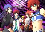 asbel_lhant black_hair blonde_hair blue_eyes checkered checkered_background cless_alvein coat long_hair luke_fon_fabre male midriff multiple_boys pants purple_background purple_eyes red_hair redhead rid_hershel smile tales_of_(series) tales_of_eternia tales_of_graces tales_of_phantasia tales_of_the_abyss tales_of_vesperia title_drop tsubasam violet_eyes yuri_lowell
