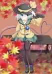 bench black_legwear blush character_name closed_eyes collarbone east01_06 eyes_closed green_eyes hat hat_ribbon highres komeiji_koishi leaf long_sleeves maple_leaf ribbon short_hair silver_hair sitting solo thigh-highs thighhighs third_eye touhou wide_sleeves