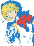 aegis android blonde_hair blue_eyes bow hair_over_one_eye highres persona persona_3 ribbon robot shin_megami_tensei short_hair soejima_shigenori