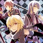 argyle argyle_background bad_id black_hair blonde_hair coat emil_castagnier hino_(moca) jude_mathis long_hair male multiple_boys red_eyes scarf sword tales_of_(series) tales_of_symphonia tales_of_symphonia_knight_of_ratatosk tales_of_vesperia tales_of_xillia weapon yuri_lowell