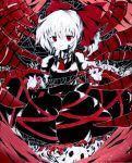 absurdres acrylic_paint_(medium) bow hair_bow highres kurodani_yamame long_sleeves millipen_(medium) ponytail puffy_sleeves red_eyes short_hair skull solo spider_web spot_color torajirou touhou traditional_media